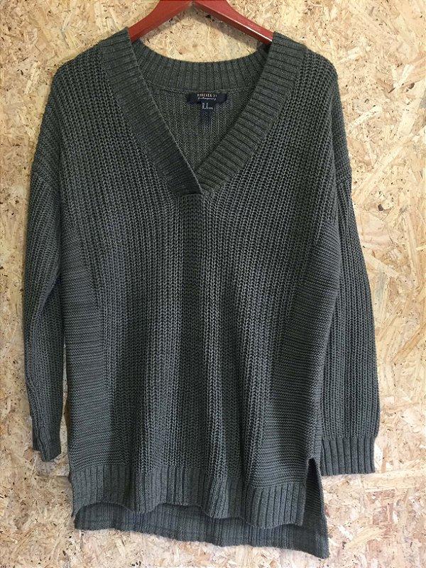 Blusa tricot verde militar (M) - Forever 21