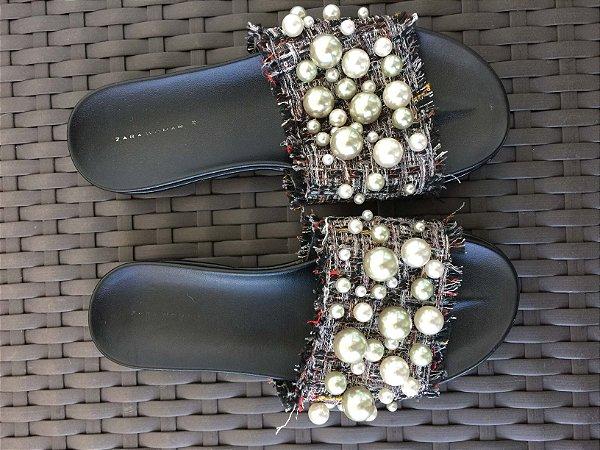 Chinelo slide pérolas (35) - Zara Woman