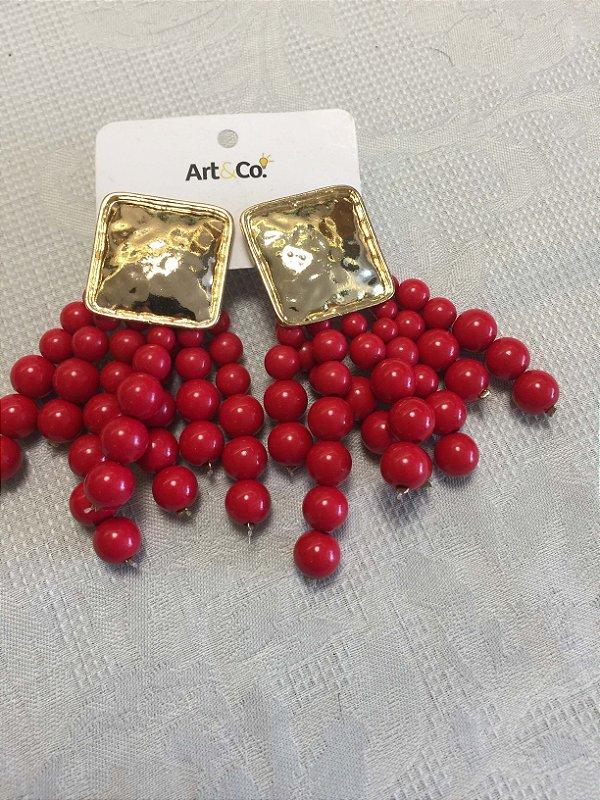 Brinco base dourada com bolas - Artco NOVO