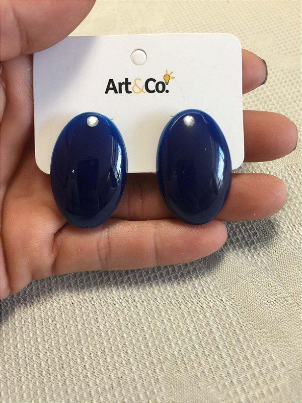 Brinco oval resina azul marinho - Artco NOVO
