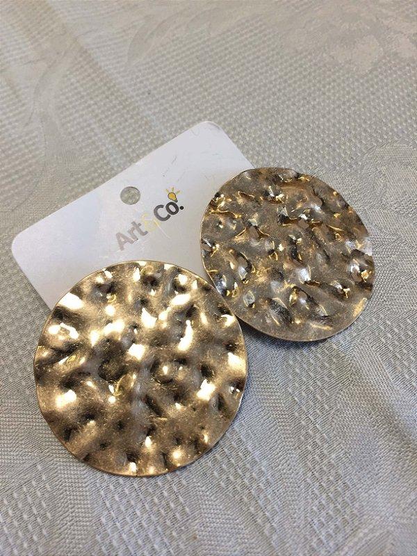 Brinco redondo dourado metal - Artco NOVO
