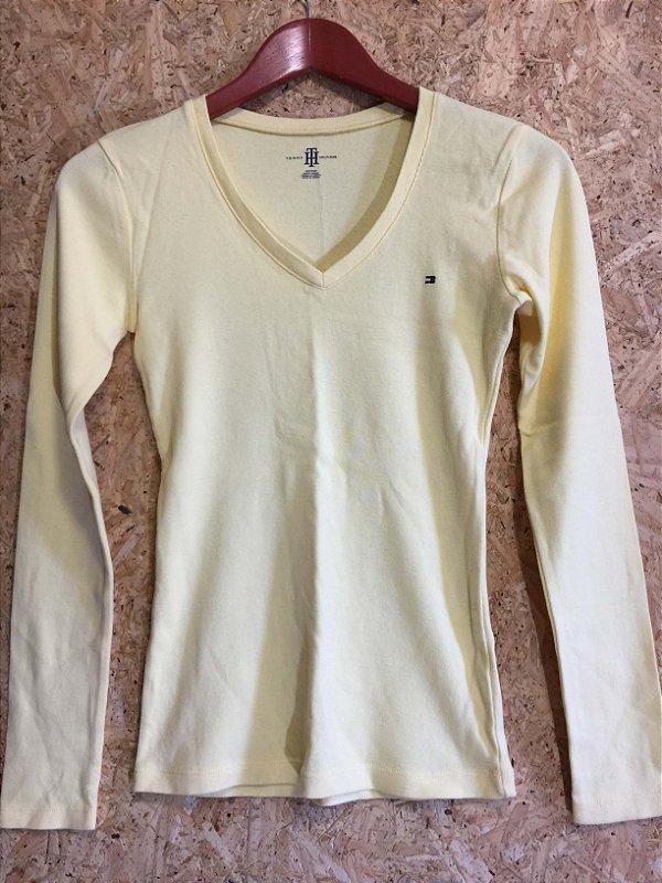 Blusa malha canelada amarela (PP) - Tommy Hilfiger