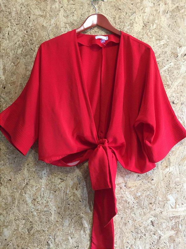 Conjuto calça e croped vermelho (G) - Mais Um