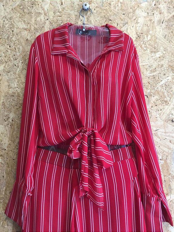 Conjunto calça e cropped vermelho listras (M) - Strass