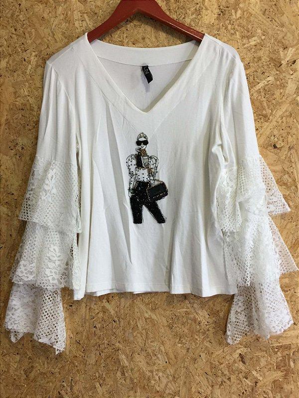 Blusa mangas renda camadas (M) - LN