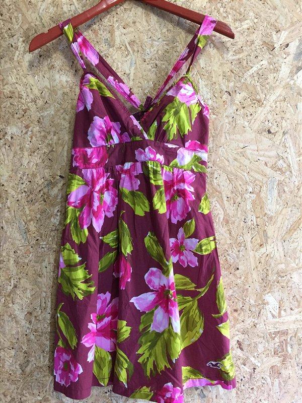 Vestido flores (M) - Hollister
