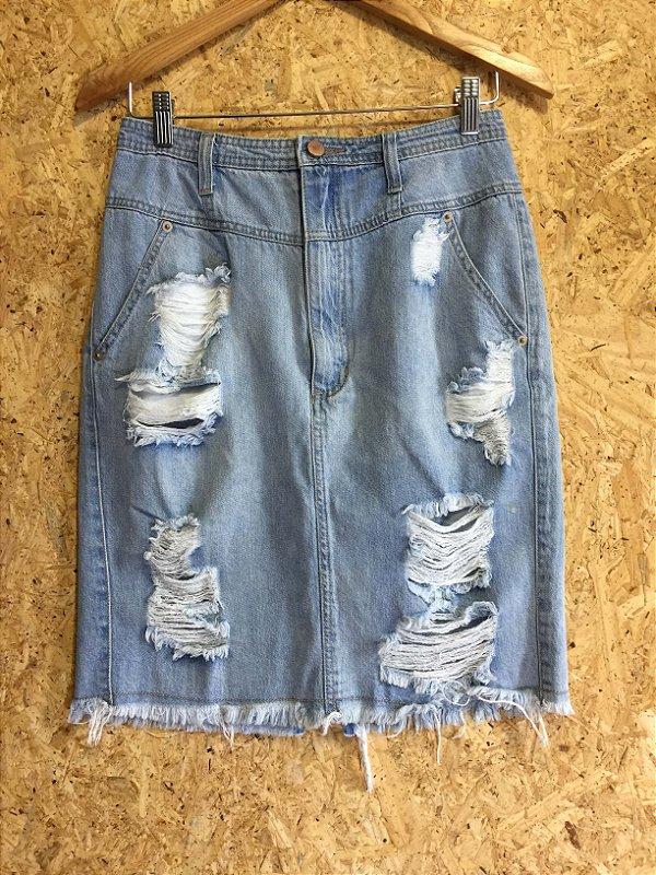 Saia jeans midi (38) - Forever 21