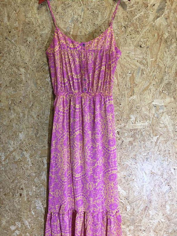 Vestido rosa estampado (M) - Lafê
