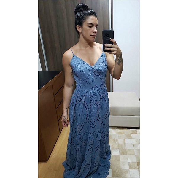 Vestido laise azul cimento (40) - Lozz