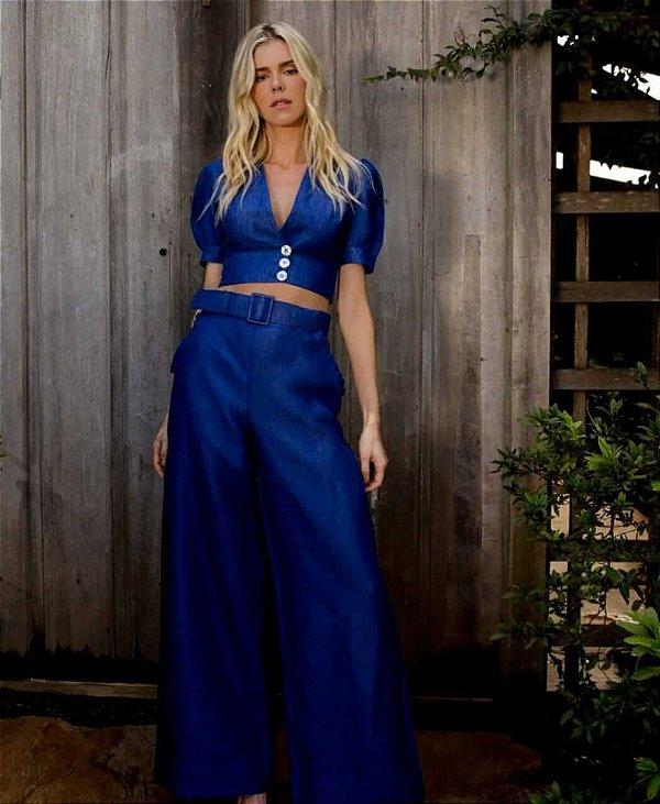 Conjunto linho azul  (M) - Rosa Dahlia