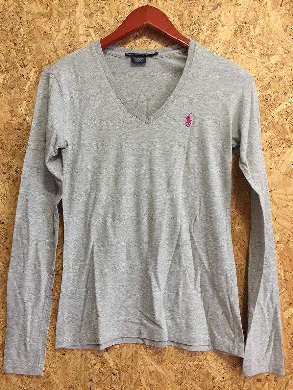 Camisa algodão cinza manga longa (PP) - Ralph Lauren Sports