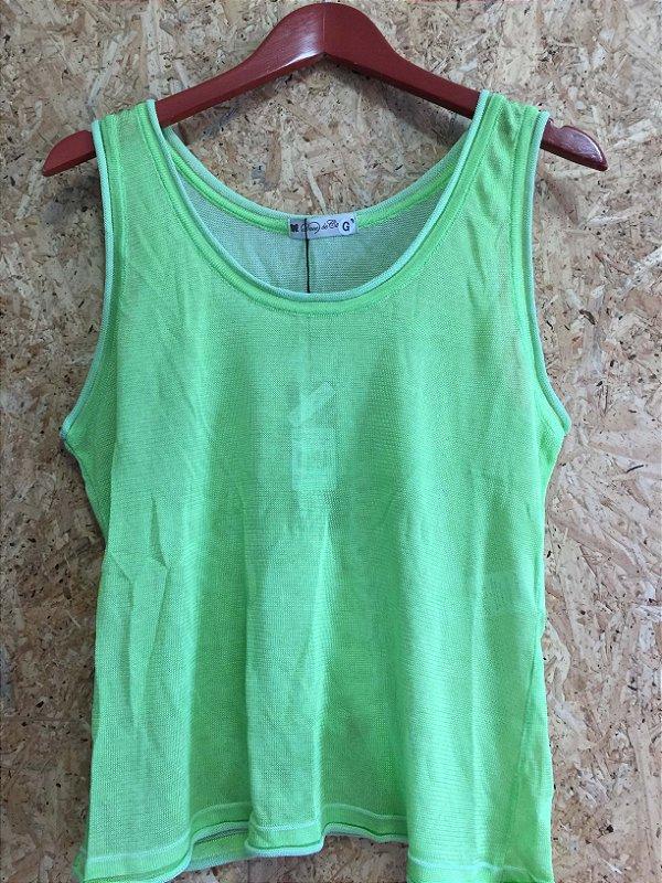 Regata tricot verde limão (G) - Doce de Coco NOVA