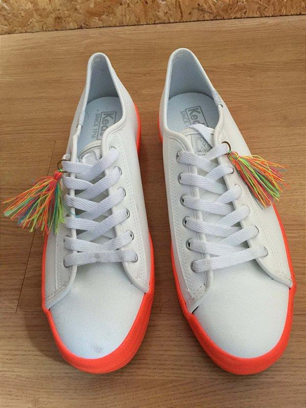 Tênis branco com laranja (37) - Keds NOVO