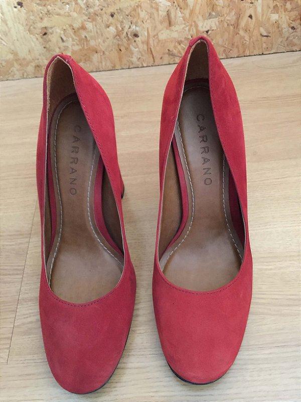 Sapato vermelho bico redondo (37) -Carrano