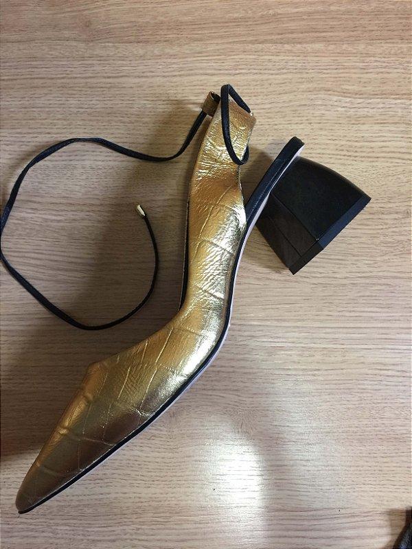 Slingback dourado (37)  - Abelle Shoes