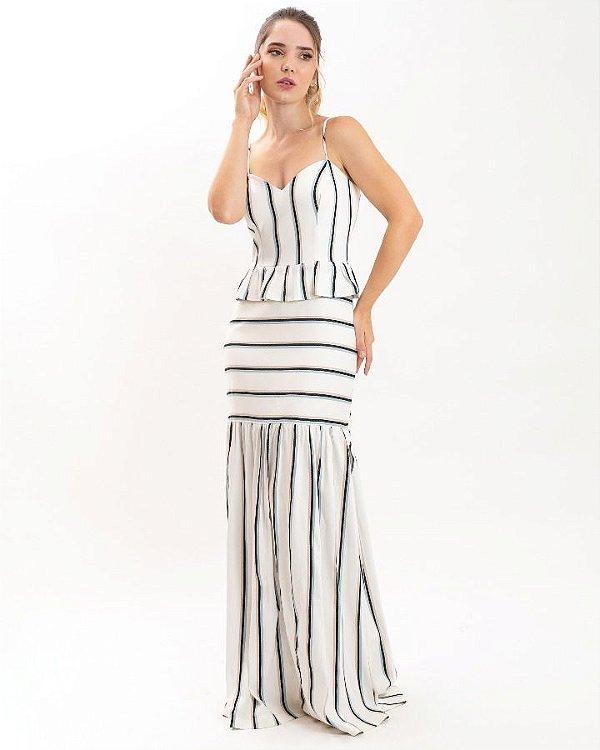 Vestido longo listras (PP) - Tyyli NOVO