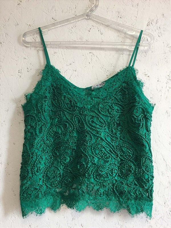 Cropped renda verde (M) - Zara