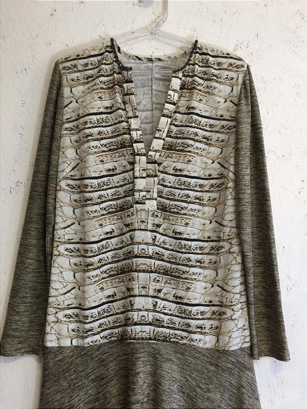 Vestido gola bordada (M) - Thamara Capelão