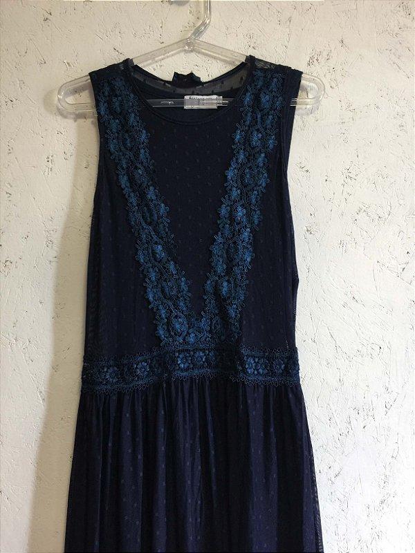 Vestido tule azul com combinação (P) - Basique NOVO