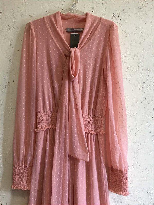 Vestido longo rosa (M) - Basique NOVO