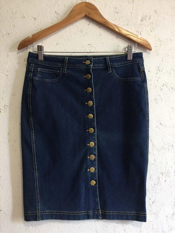 Saia lápis jeans botões (M) -  Forever 21