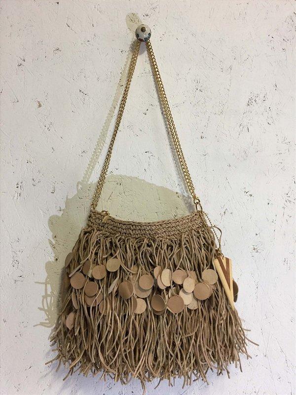 Bolsa saco couro e crochê