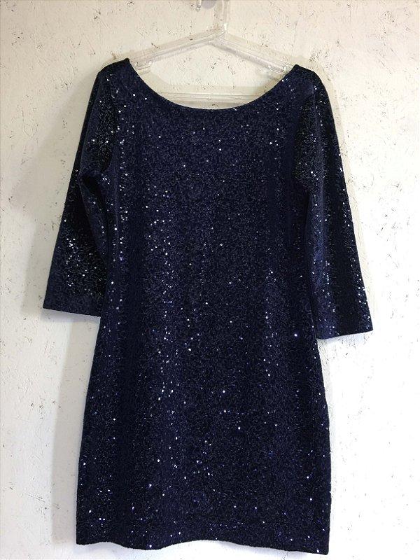 Vestido paetês azul (G) - Eh Viva