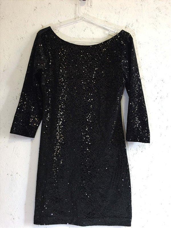 Vestido paetês preto (P, M e G) - Eh Viva NOVO