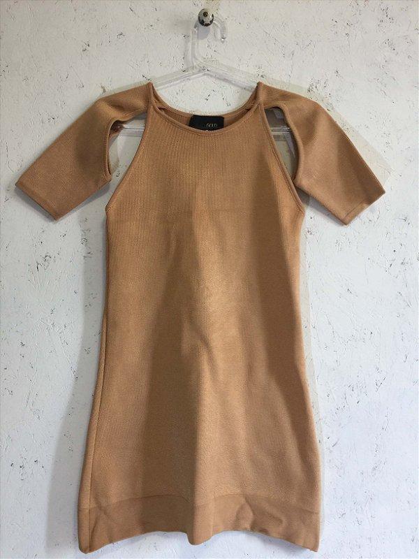 Vestido camel bandagem (P) - Andrea Bogosian Black Gold