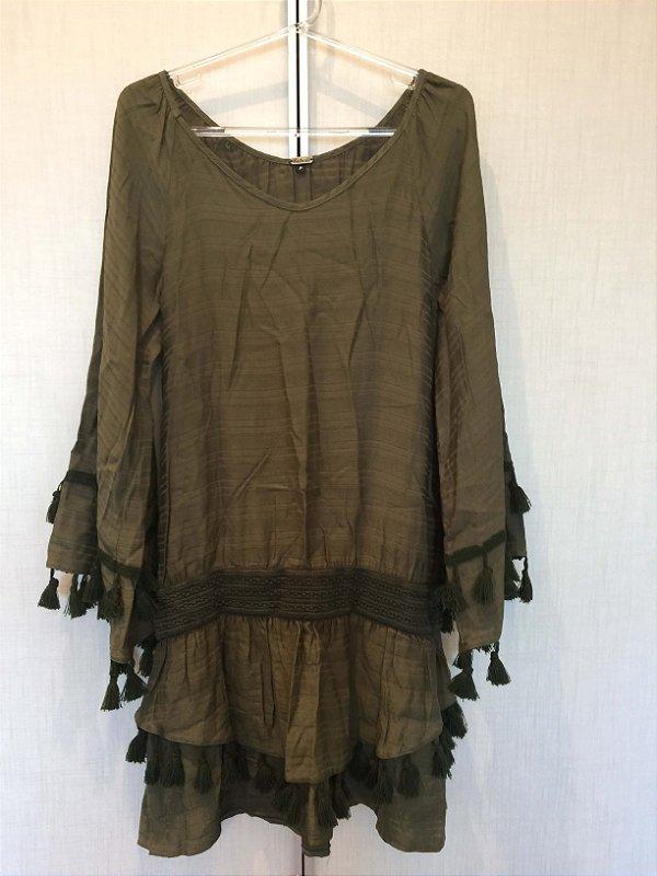 Vestido manga longa verde (P) - Batiche