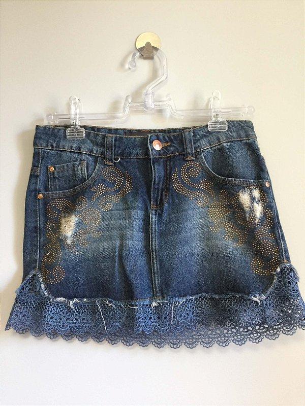 Saia jeans bordada (38) - Pool jeans