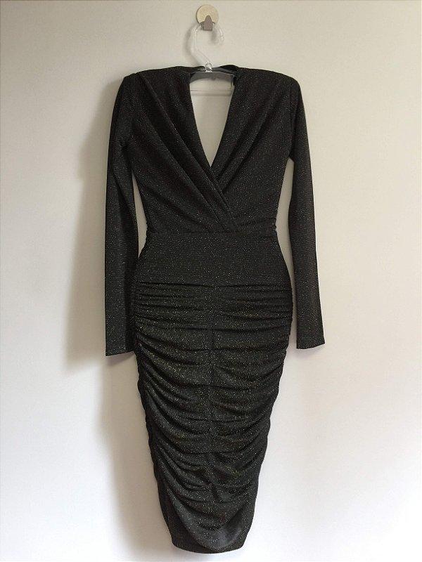 Vestido lurex drapeado (PP) - Tweed NOVO