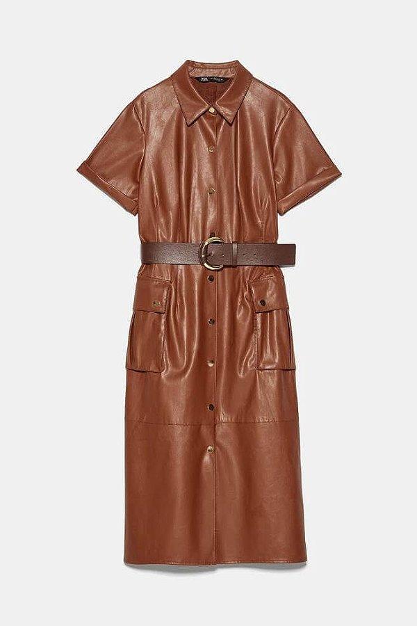 Vestido couro ecológico (M) - Zara NOVO