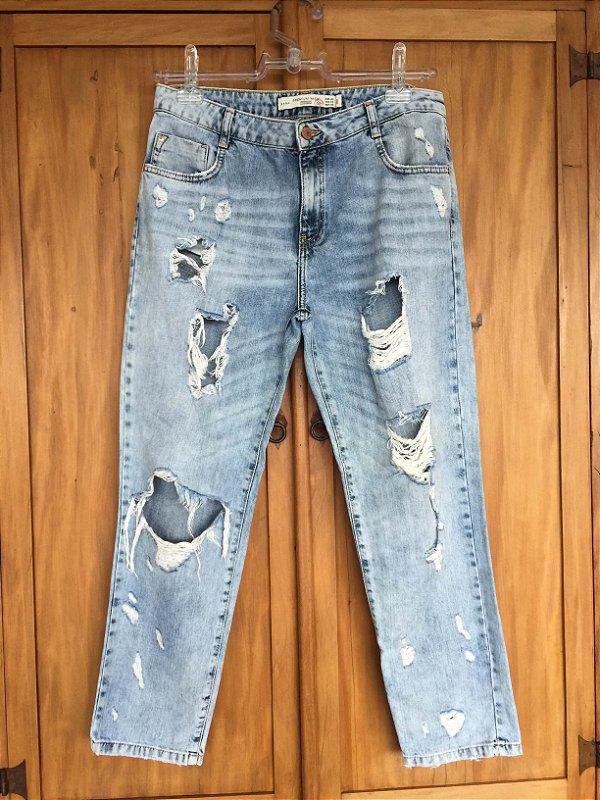 Calça Jeans  claro rasgado (40) - Zara