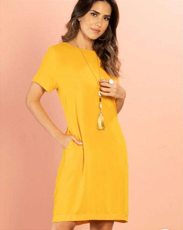 Vestido curto mostarda (M) - Quintess NOVO