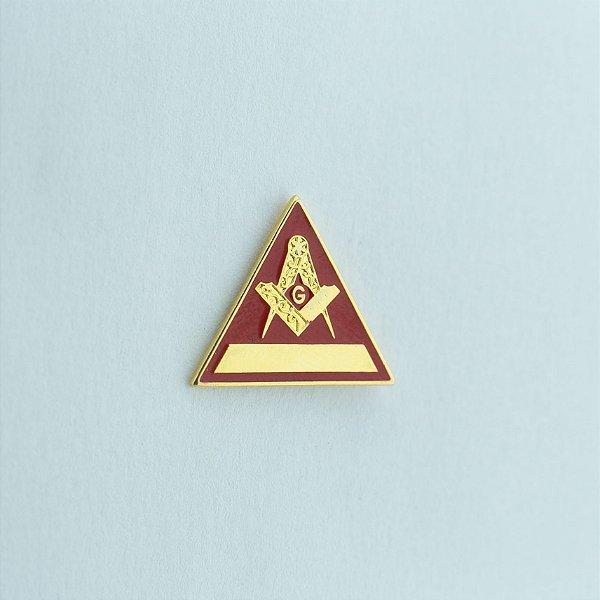 BT-006-V - Pin Esquadro e Compasso Triangular Vermelho - Com filete