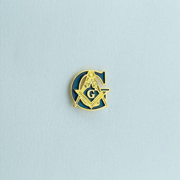 BT-010-A - Pin G + Esquadro e Compasso Azul