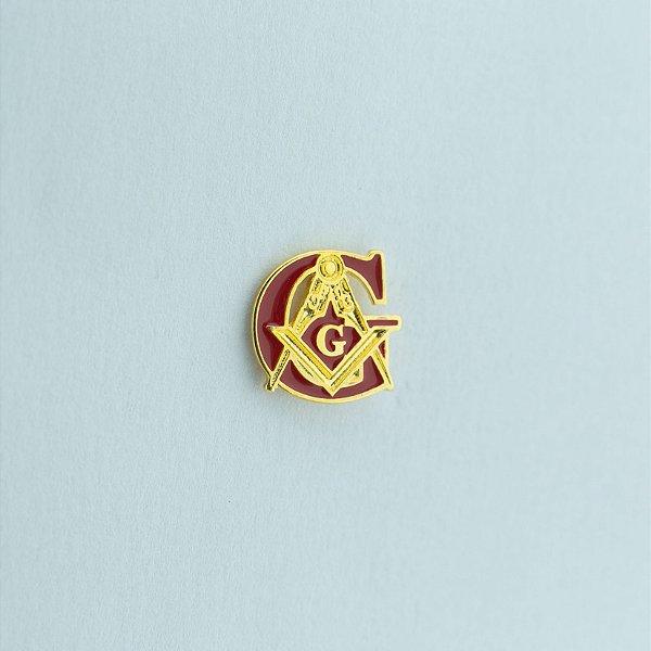 BT-010-V - Pin G + Esquadro e Compasso Vermelho