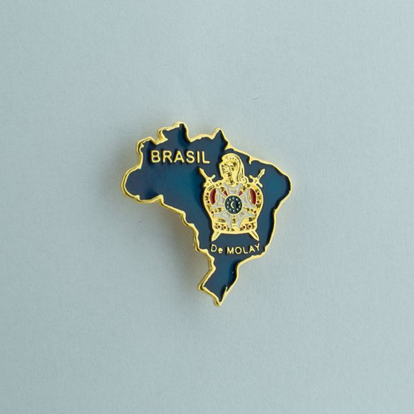 BT-074-A - Pin Mapa do Brasil Azul com Demolay