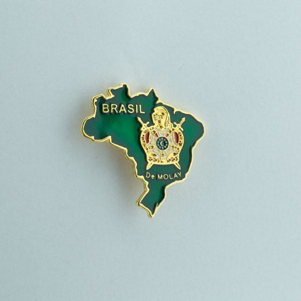 BT-074 - VD - Pin Mapa do Brasil Verde com Demolay