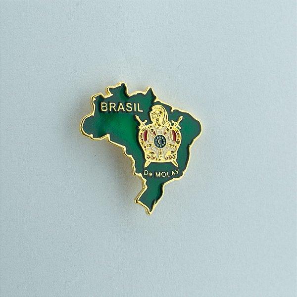 BT-074-Vd - Pin Mapa do Brasil Verde com Demolay