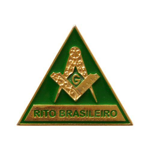 BT-114 - Pin Triângulo Rito Brasileiro com Esquadro e Compasso Verde