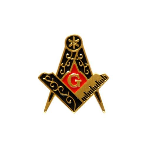 AP-008-DV - Aplique Esquadro e Compasso Dourado Vermelho - 2 cm