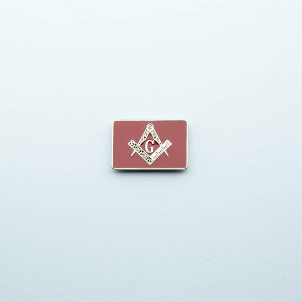 AP-014-V - Aplique Esquadro e Compasso Retangular Vermelho - 22x20 mm