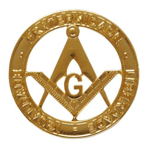 AP-015-D - Aplique Esquadro e Compasso Dourado - Fraternidade - Liberdade - Igualdade