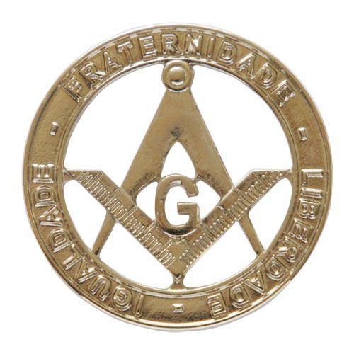 AP-015-N - Aplique Esquadro e Compasso Niquelado - Fraternidade - Liberdade - Igualdade - 34x34 mm