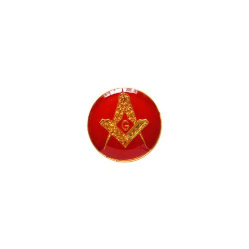 AP-016-V - Aplique Esquadro e Compasso Redondo Vermelho - 12 mm
