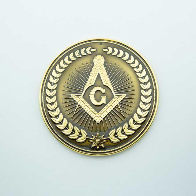 AP-019-D - Aplique Esquadro e Compasso Dourado Redondo Preto - 7 cm