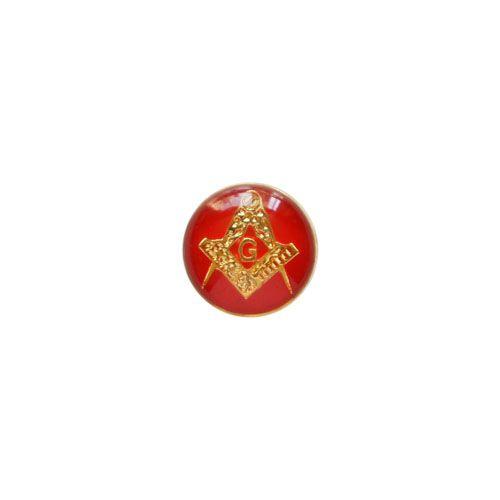 AP-026-V - Aplique Esquadro e Compasso Redondo Vermelho - 9 mm
