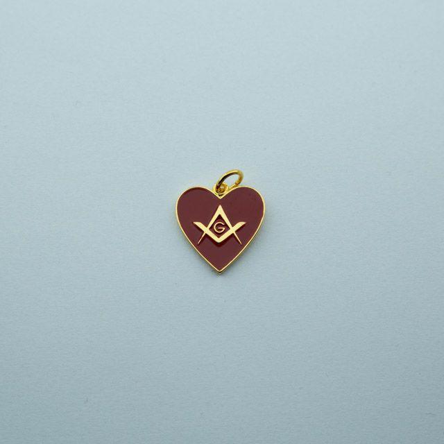 PI-005-V - Pingente Coração Esquadro e Compasso Vermelho